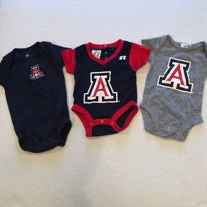 "Other - ""4/$24 SALE"" (3) UofA baby onesies 0-3, 3-6 month"